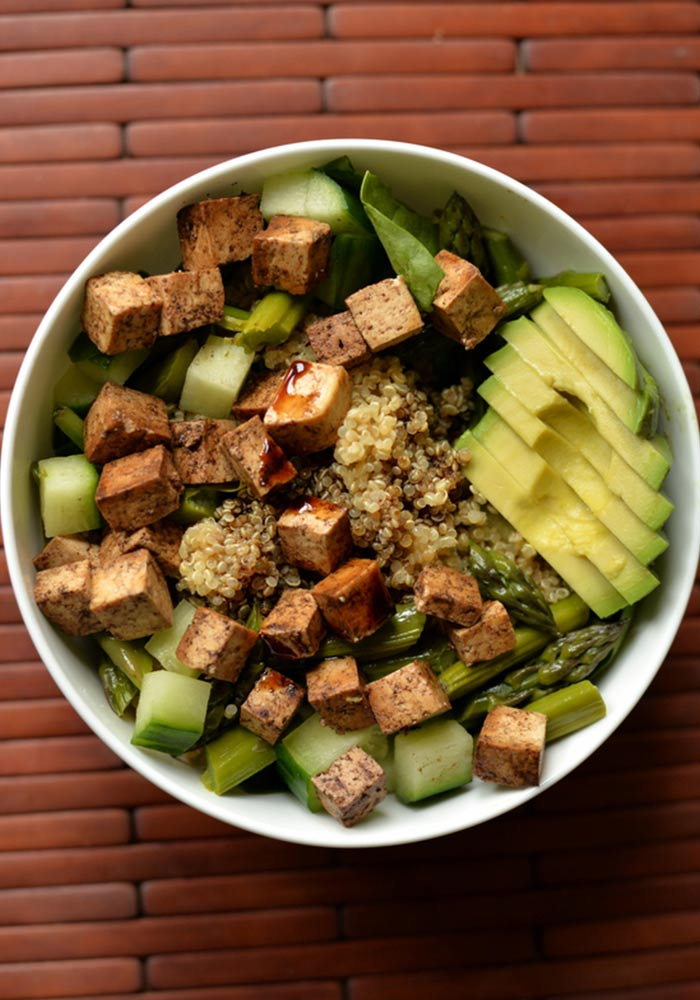 Balsamic Asparagus Quinoa Salad with Baked Tofu