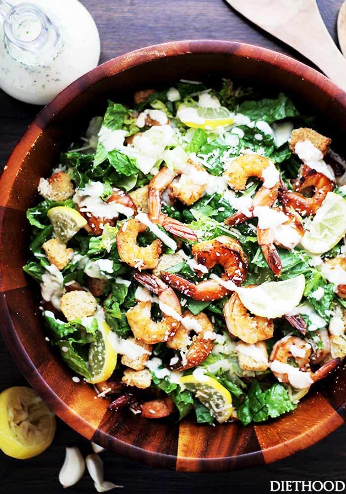 Grilled Shrimp Caesar Salad with Home-made Light Caesar Dressing