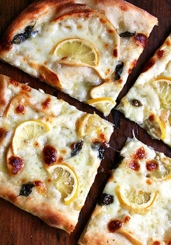 Pizza with Lemon, Smoked Mozzarella and Basil