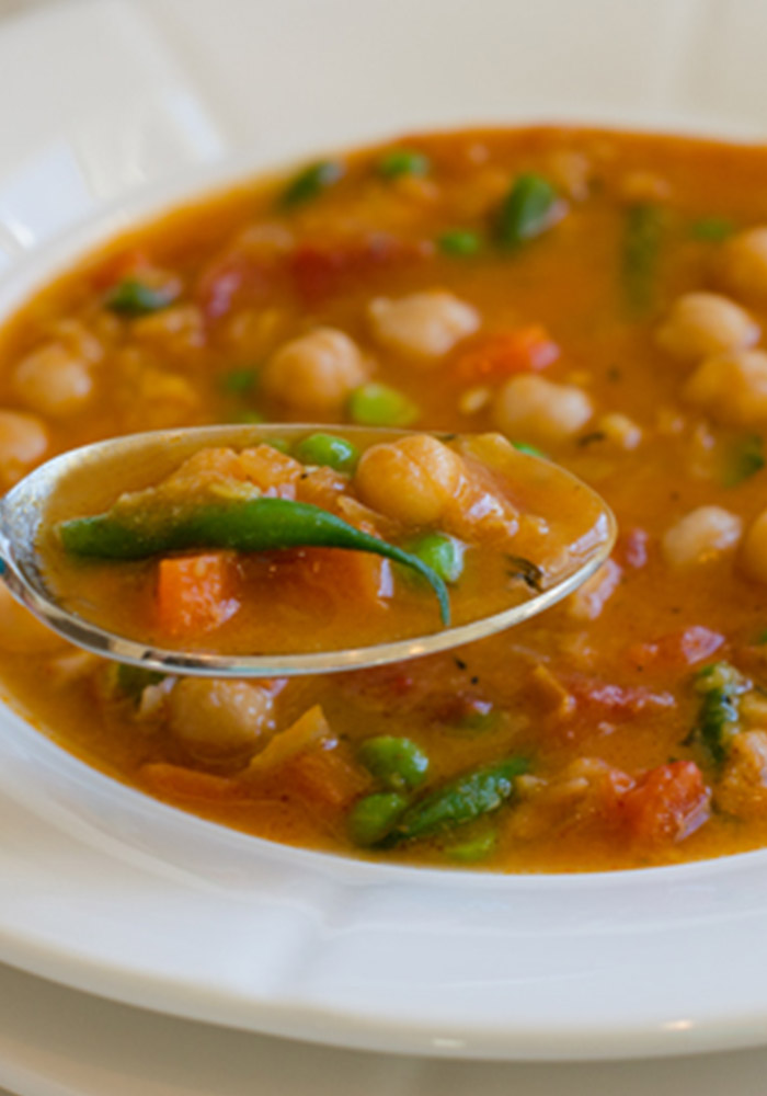 Smoky Chickpea, Red lentil and Vegetable Soup