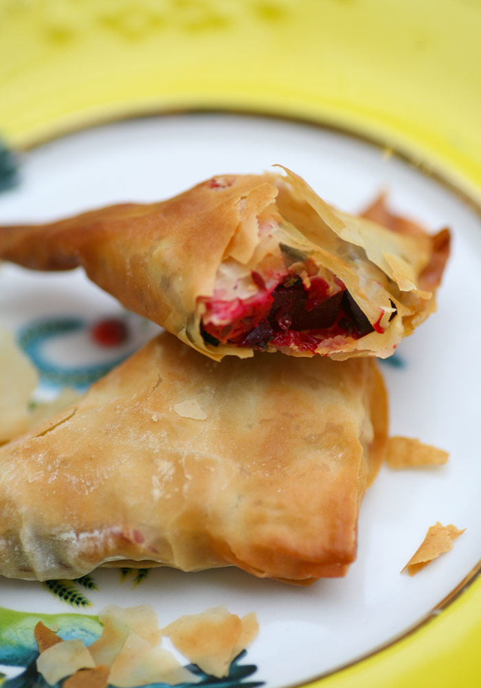 Baked Spiced Beetroot and Feta Samosa