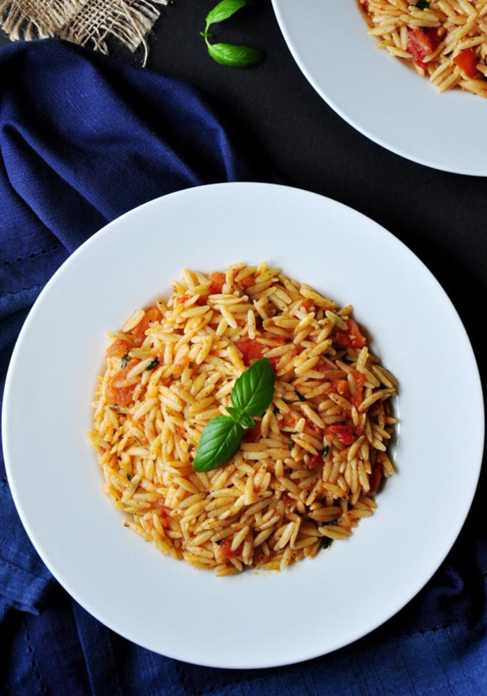 Pan Fried Basil Tomato Orzo