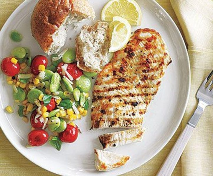 Grilled Chicken Cutlets with Summer Succotash