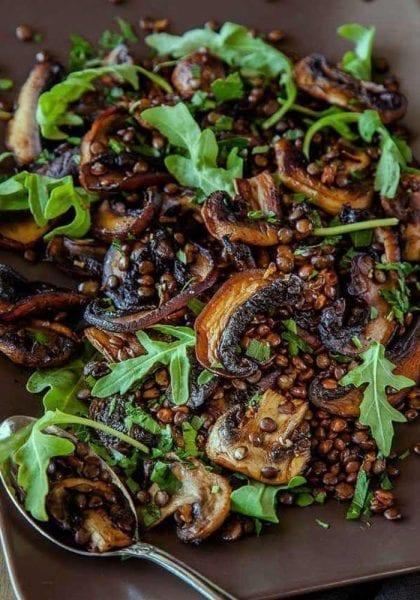 Mushroom, Lemon and Lentil Salad